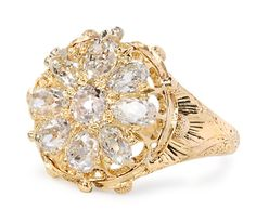 Spectacular Victorian Shaped Diamond Cluster Ring - The Three Graces