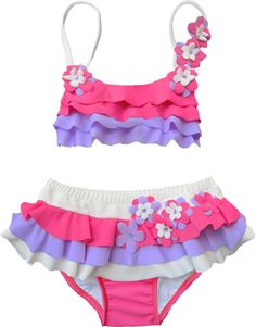 Ciao Bella Girls, Tweens and Toddlers Pink, Purple & White Ruffle Flower Catalina Swimsuit Bathing Suit