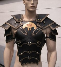 Ornate gothic leather armor chest back & shoulders with your graphic