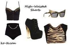 ways to wear high waisted shorts. cat's look