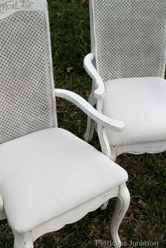 White Painted Table and Chairs with Drop Cloth Seats, Petticoat Junktion
