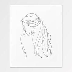 Renée - Fine-Art-Print von einer einzigen Linie Illustration - New Ideas Simple Illustration, Vintage Illustration, Beauty Illustration, Minimalist Drawing, Minimalist Art, Abstract Drawings, Art Drawings, People Drawings, Art Fox
