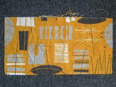 Vtg 50s Mid Century Modern Atomic Mobile Barkcloth Fabric Cool!