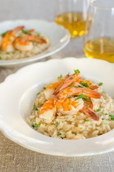 Parmesan Risotto with Roasted Shrimp:  Enjoy a glass of wine and take turnsstirring the risotto with your loved one for a meal that's simple but special.
