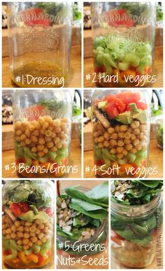 How To: Salad In a Mason Jar- Healthy Salad Recipe for School & Work - Healthnut Nutrition Healthy Salad Recipes, Lunch Recipes, Vegan Recipes, Cooking Recipes, Jar Recipes, Freezer Recipes, Freezer Cooking, Drink Recipes, Cooking Tips