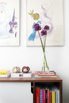 Colorful magazines and quirky accessories add a happy vibe to this apartment