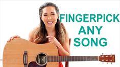 Fingerpick Any Song on the Guitar for Beginners - Easy Fingerpicking Exercises Guitar Books, Easy Guitar Songs, Guitar Chords For Songs, Music Guitar, Playing Guitar, Learning Guitar, Learn Guitar Beginner, Guitar Songs For Beginners, Basic Guitar Lessons
