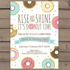 Donut Birthday Party Invitation doughnut by Anietillustration