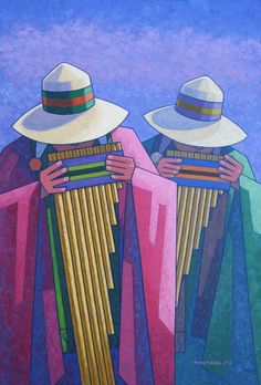 Andean music is from Peru, Chile, Bolivia and Ecuador and is similar to music . South American Art, Native American Art, Peruvian Art, Latino Art, Spanish Art, Southwest Art, Arte Popular, Indigenous Art, Naive Art
