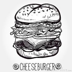 Burger Drawing, Big Tasty, Drawing Sketches, Drawings, How To Draw Hands, Vintage Fashion, Black And White, Ideas Para, Illustration