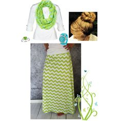 Modest Spring Outfit. Green and Chevron.