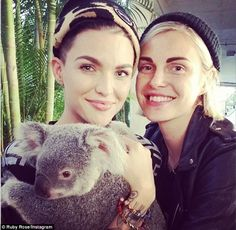 Animal lovers! Ruby Rose and fiancee Phoebe Dahl add a new addition to the family... a little hairy pig. The 28-year-old and her fashion designer girlfriend are animal lovers...