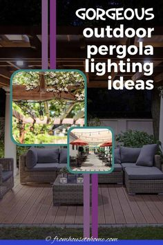 From patio string light ideas to outdoor chandeliers, find all kinds of pergola light ideas to make your deck or patio look gorgeous at night #fromhousetohome #gardendesign #pergola #landscapelighting #backyardlandscaping