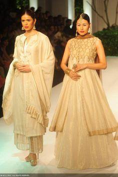 Models showcase creations by designer Meera Muzaffar Ali at India Bridal Fashion Week (IBFW) 2013
