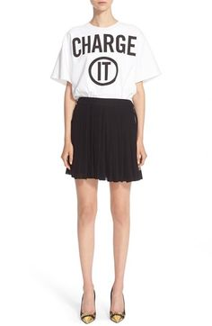 MOSCHINO 'Charge It' Short Sleeve Silk Dress. #moschino #cloth #