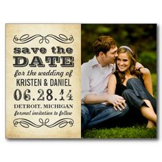 Ivory Photo Save the Dates | Vintage Poster Style Postcard.  $1.05
