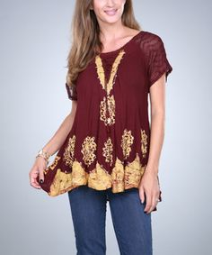 This Burgundy & Yellow Embroidered Swing Top by Ananda's Collection is perfect! #zulilyfinds