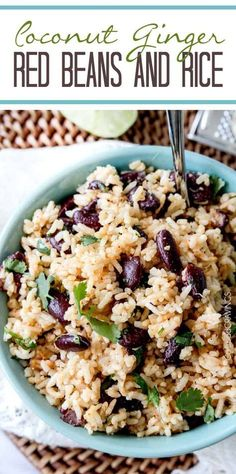 Red Beans and Rice with Coconut & Ginger - Carlsbad Cravings. with dried coconut. 2 cans beans. Side Dish Recipes, Rice Recipes, Vegetarian Recipes, Cooking Recipes, Healthy Recipes, Dinner Recipes, Healthy Meals, Chili Lime Chicken, Lime Chicken Tacos