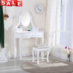 The top part of the dressing table can be moved away, so you also can use it as a writing table. Features: With Mirror, With Stool, 5 Drawers. The mirror can be 360° spinning. Dress up your table, to make it look even more glamorous! | eBay!