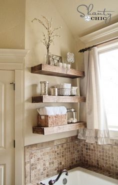DIY Floating Shelves Above Bathtub ~ Organize your bath stuff with these DIY rustic floating shelves. They are chic, sleek, and much easier to make than they look. - http://hative.com/diy-bathtub-surround-storage-ideas/
