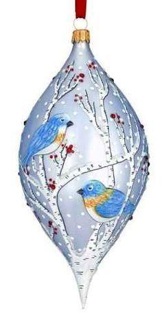 Hand Painted Glass Blue Birds Ornament Z Blue Christmas Decor, Painted Christmas Ornaments, 3d Christmas, Hand Painted Ornaments, Homemade Christmas, Holiday Ornaments, Christmas Projects, Beautiful Christmas, Christmas Tree Ornaments