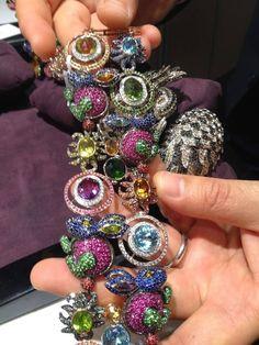 Gorgeous diamond encrusted bracelet with colored precious stones from Zorab Atelier de Creation ~ JCK Luxury jewelry show