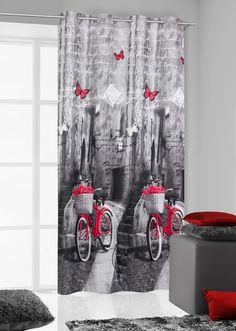 Zasłony na przelotkach w kolorze szarym z czerwonym rowerem z koszyczkiem