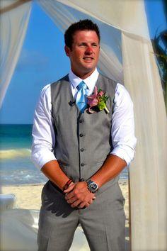 Beach wedding at the Iberostar Grand Paraiso. Riviera Maya, Mexico June 2014. Groom outfit