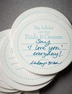 Guest book alternative - wedding advice coasters | Top 10 Unique Wedding Styling IdeasTop 10 Unique Wedding Styling Ideas
