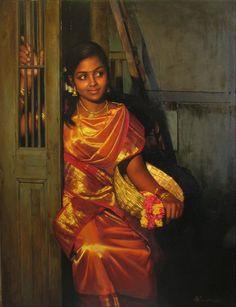 25 Beautiful Rural Indian Women Paintings by Tamilnadu artist ilayaraja - H. Singh - 25 Beautiful Rural Indian Women Paintings by Tamilnadu artist ilayaraja Oil Paintings of Women