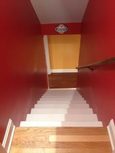 Entryway to the basement.  Before this, we had ugly wallpaper with sailboats and 1970's gold carpeting.