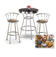 """Chrome Bar Table & 2 Chrome 29"""" Chicken Fabric Seat Barstools by The Furniture Cove. $297.88. 29"""" Seat Height. 3 Piece Set Includes Table and 2 29"""" Bar Stools. Chrome Metal Finish Stools. Swivel Seat. Chicken and Hen Fabric Print Seat. This listing is for a 3 piece set, a bar table and 2 chrome finish bar stools. This table stands 41 3/4"""" tall and is 30"""" in diameter. Notice the """"foot bar"""" for resting your feet. It is metal chrome with a chrome trim. The top is a nice black h..."""