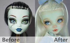 All about Monster High: Ooak M. Monster High Crafts, Custom Monster High Dolls, Monster High Repaint, Custom Dolls, Doll Repaint Tutorial, Polymer Clay Painting, Barbie Makeup, Doll Painting, Lol Dolls