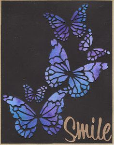 handcrafted card from Kapp Kards ... black card with Memory Box reverse die with butterflies ... luv the brilliant water color layer in blues showing through ...