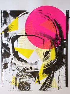 #Art #print #screenprint #astronaut #color #abstract #etsy