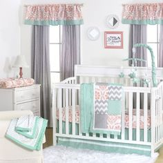 Mint, Coral and Grey Patchwork 4 Piece Baby Crib Bedding Set by The Peanut Shell