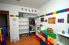 Make Lego border in bathroom. Before taking down existing border, trace the lines, remove paper border, then paint inside the lines like Legos.