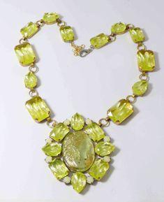 Czech Cameo Vaseline Uranium Statement Necklace