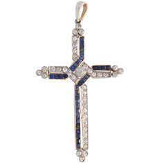 Antique Diamond & Sapphire Cross Pendant