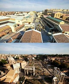 View above the Roman forum, then and now