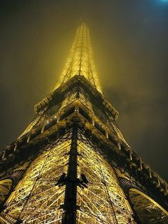 Eiffel Tower in foggy night