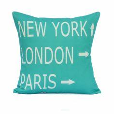 Destination throw pillow cover, via Etsy.