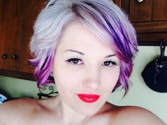 Platinum blonde short hair with purple low lites!