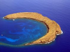 Molokini, the top of a volcanic caldera between Maui and Kaho'olawe.