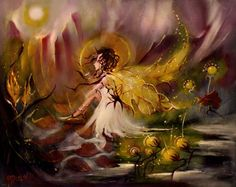 TOMORROW IS FOREVER FAIRY FAERY OIL PAINTING R HUBBARD BLACKSUN13R #RichardHubbard