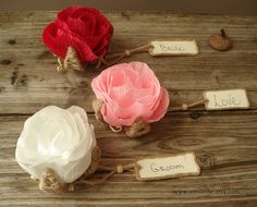 10 Rustic Flower Place Cards Card Holder Table Name Rose Wedding Party Favors Seating