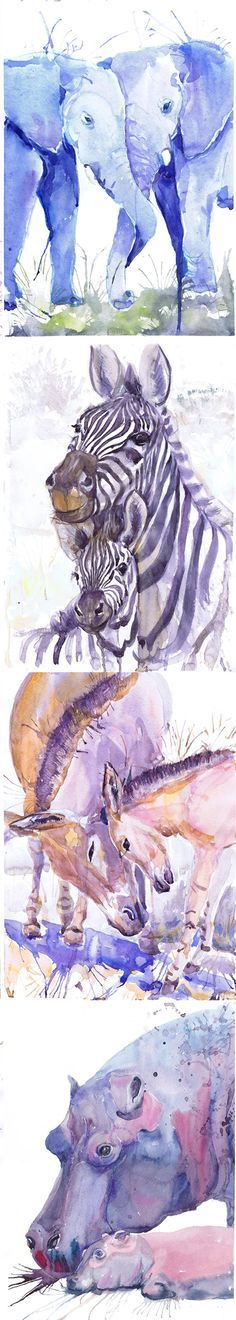 ACEO Artist Trading Cards Art Prints Watercolor Painting Jungle Safari Animals ATC Giclee, Set of 8 Signed Collectible card Watercolour Set of 8 Signed