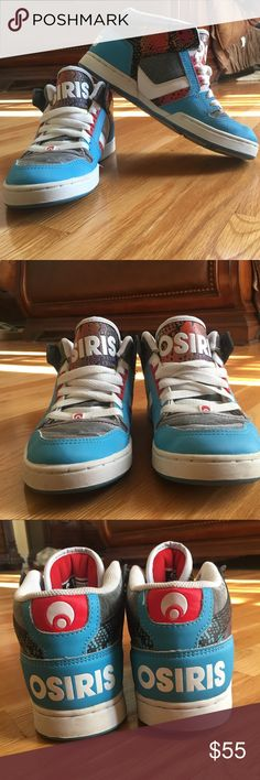 Osiris NYC 83 Mids Cyan & Bolt Skate Shoe Osiris NYC 83 Mids Cyan & Bolt Skate Shoe. Discontinued style. Multicolor, multipatterned, and multimaterial. Worn & loved. Great condition. Women's size 9. Box not included. Osiris Shoes Sneakers