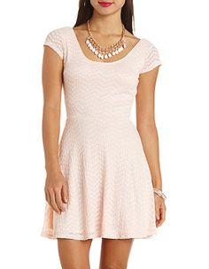 Chevron Lace Cap Sleeve Skater Dress: Charlotte Russe