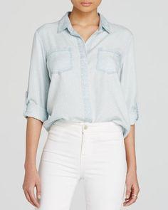 Aqua Shirt - Riley Polka Dot Chambray